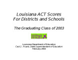 Louisiana ACT scores for the graduating class of 2003 at the school and district levels