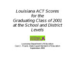 Louisiana ACT scores for the graduating class of 2001 at the school and district levels